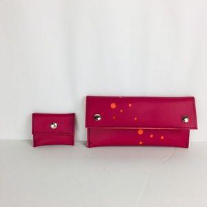 Holly Aiken Clutch Wallet & Coin Purse Pink Orange